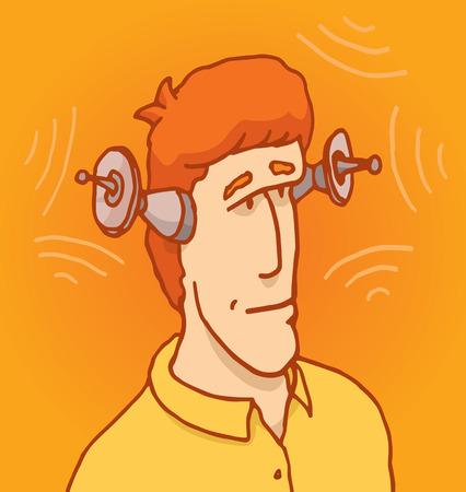 bionico: Cartoon illustrazione di un uomo con le orecchie robotiche avanzate o antenna