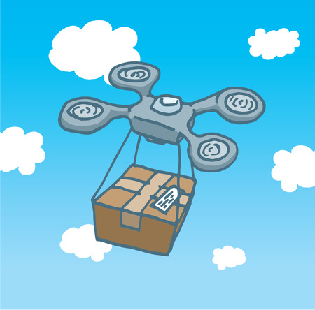 post office: Cartoon illustration of a drone copter flying and delivering a post office box  Illustration