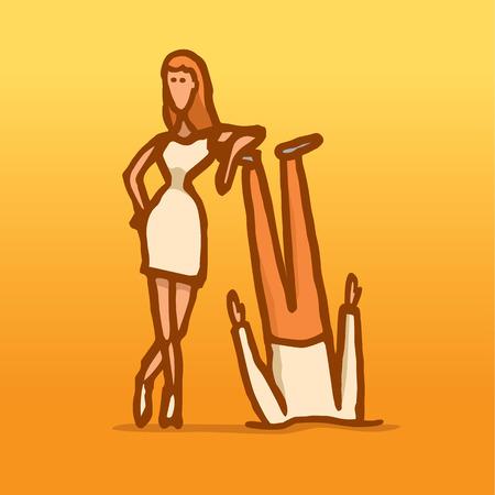 krachtige vrouw: Cartoon illustratie van een echtpaar met een krachtige vrouw die zich trots op haar hoofd over hielen man
