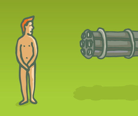 Cartoon illustration of vulnerable naked newbie being aimed by machine gun