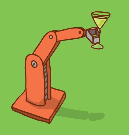 bras robot: Illustration de bande dessin�e d'un bras de robot tenant un verre de martini