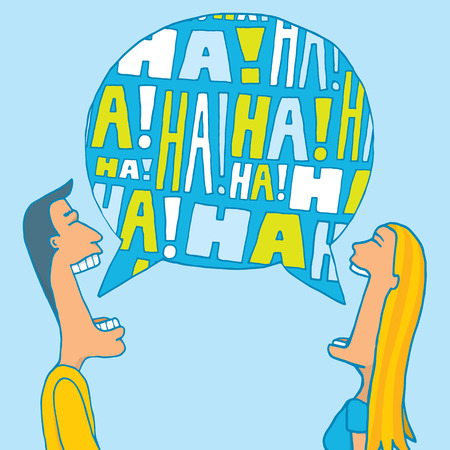 laughing out loud: Cartoon illustration of a couple sharing a laugh or laughing together