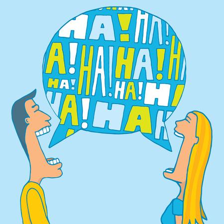 reir: Ilustración de dibujos animados de una pareja compartiendo una risa o reír juntos Vectores