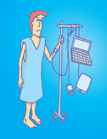 Cartoon illustration of a connected man with internet addiction or technology junkie with computer, smartphone and tablet as serum.