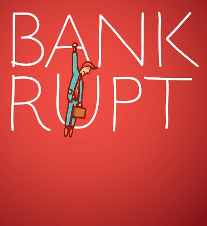 faillite: Cartoon illustration d'un homme d'affaires suspendu � la faillite Illustration