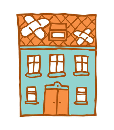 improvised: Cartoon ilustration of a broken house with patches of adhesive bandage