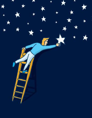 Cartoon illustration of man climbing a ladder to grab the star or arrange night sky Stock Illustratie