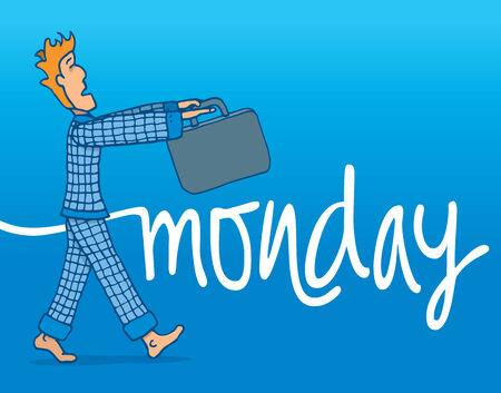 Cartoon illustration of tough monday morning for a sleep walking businessman