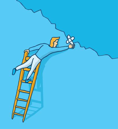 접착 붕대와 벽 균열을 패치하는 사람의 만화 그림