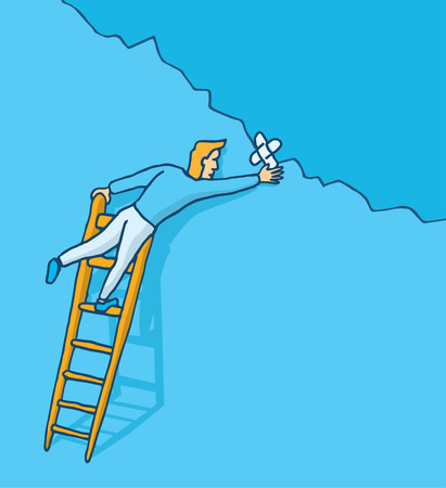 crack up: Cartoon illustration of man patching up a wall crack with adhesive bandage