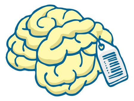 headhunter: Cartoon illustrazione di un cervello talento pronto per la vendita