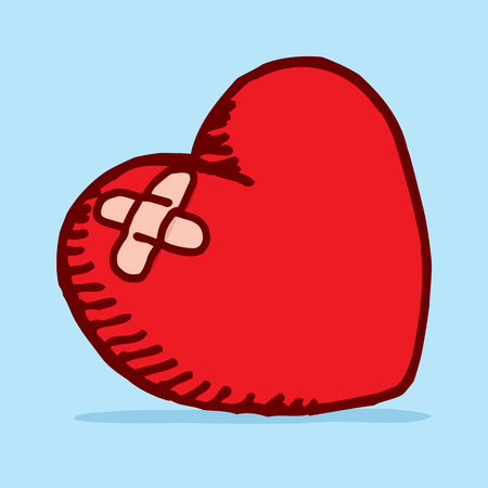 Cartoon illustration of a heart break patched with adhesive bandage curing lost love Vector