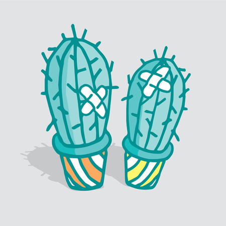 Cartoon illustration of two cactus hurt and patched up Illustration