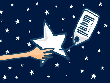 가격 태그 판매 스타 또는 성공의 꿈의 만화 그림