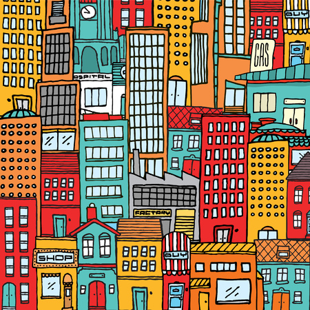 busy city: Cartoon illustration background of a colorful busy city full with houses and buildings Illustration