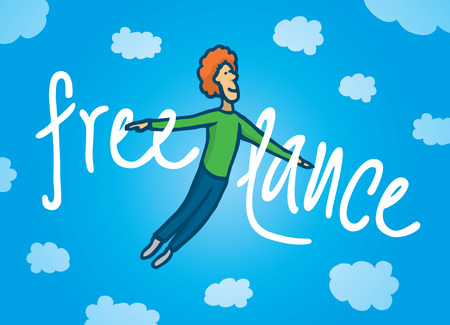 Cartoon illustration of a happy flying freelance worker in the sky 向量圖像
