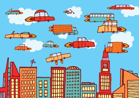 미래 도시의 항공 운송 또는 비행 자동차의 만화 그림