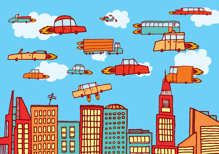 Cartoon illustration of future urban air transportation or flying cars
