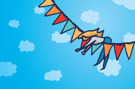 hanging woman: Cartoon illustration background of a woman hanging up over colorful party pennants Illustration