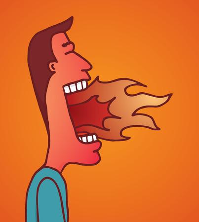 매운 음식이나 정말 화가를 먹은 후 입 불타는 남자의 만화 그림 일러스트