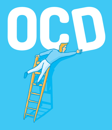 Cartoon illustration of an obsessive man correcting a crooked ocd letter  Illustration