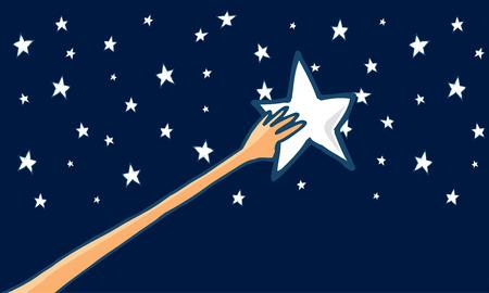 Cartoon illustration of long arm reaching for his dreams and grabbing a shining star