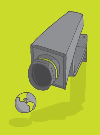 voyeur: Cartoon illustration of a surveillance camera aiming at planet earth