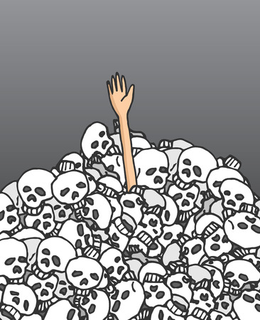 Cartoon illustration of survivor hand coming out from a skulls pile Illustration