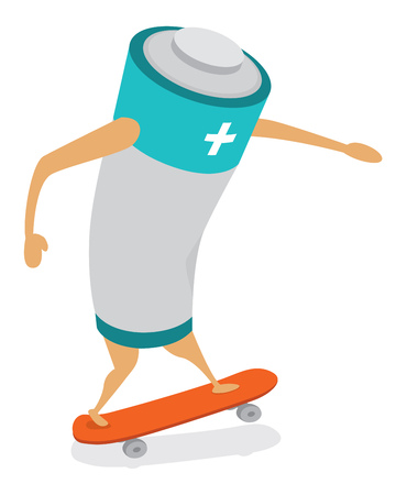 positive energy: Cartoon illustration of an active battery skating with positive energy