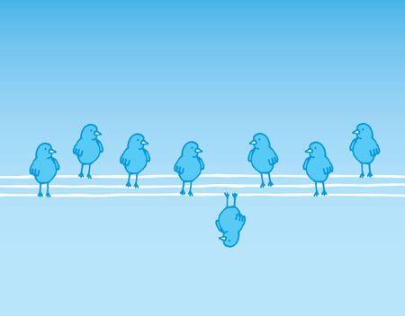 standing out: Cartoon illustration of a different bird standing out Illustration