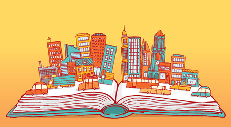 Cartoon illustration of open book hosting a city with buildings and cars