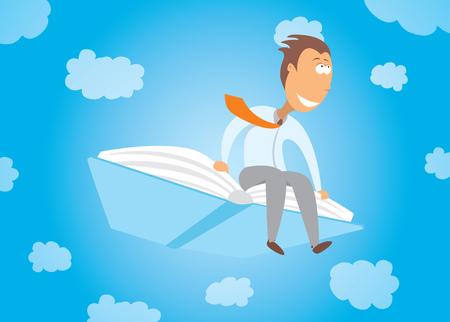 Cartoon illustration of a businessman flying with his business education book Vector