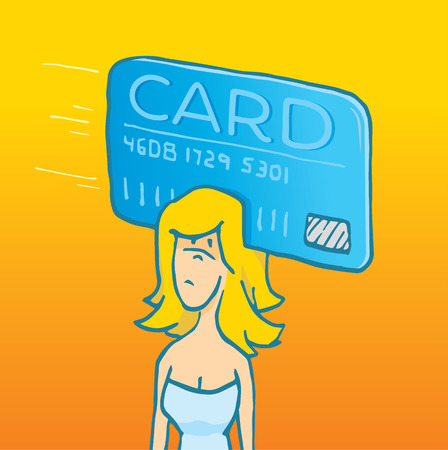 swipe: Cartoon illustration of woman with one thing on her mind credit card swipe Illustration