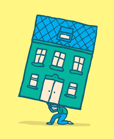 nostalgy: Cartoon illustration of man moving his home by carrying it on his back