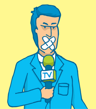 censorship: Cartoon illustration of censored reporter with microphone and patch on his mouth Illustration