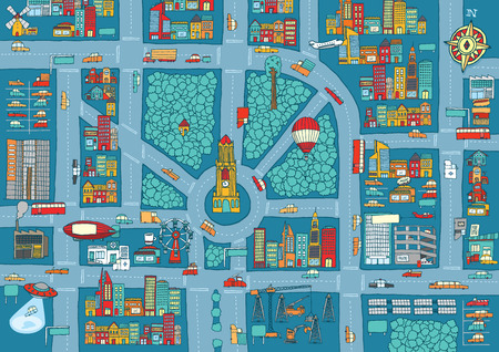 Cartoon illustration busy city full of cars and buildings