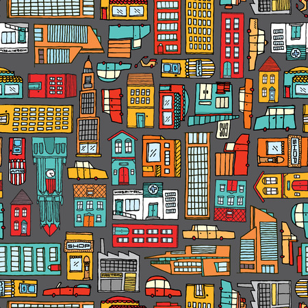 mini bus: Cartoon illustration urban background or seamless colorful city pattern Illustration