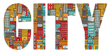 busy street: Cartoon illustration background of a busy colorful city word