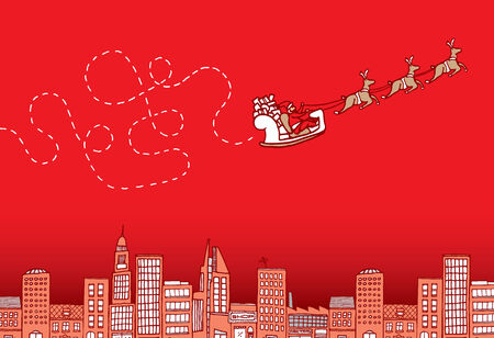 erratic: Cartoon illustration of a lost santa on christmas flying over the city