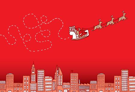 pen cartoon: Cartoon illustration of a lost santa on christmas flying over the city