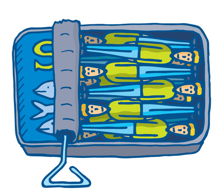 Cartoon illustration of people cramped together into small sardines can Stock Illustratie
