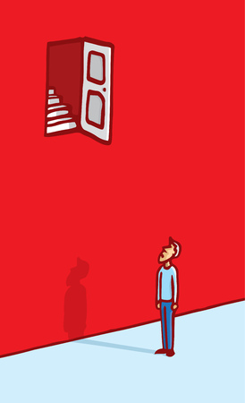 people looking up: Cartoon illustration of man puzzled by a door far too up to reach