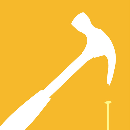 errors: Illustration of failure with the right tool or hammer used the wrong way