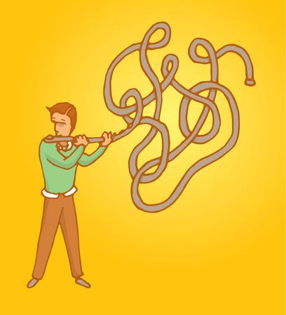 Cartoon Illustration der Mann spielt Musik oder improvisieren auf einem verschlungenen komplexen Flöte