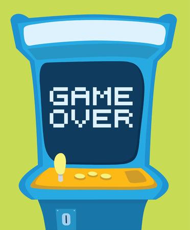 Cartoon illustratie van een arcade machine toont game over bericht Stock Illustratie