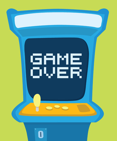 Cartoon illustration of an arcade machine showing game over message
