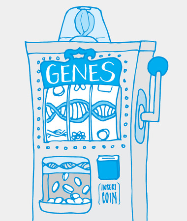 adn: Ilustración de dibujos animados de los genes de mezcla en la máquina de ranura divertido