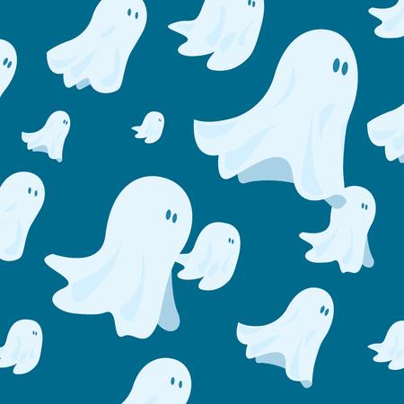 teamwork cartoon: Cartoon illustration of funny halloween ghost group