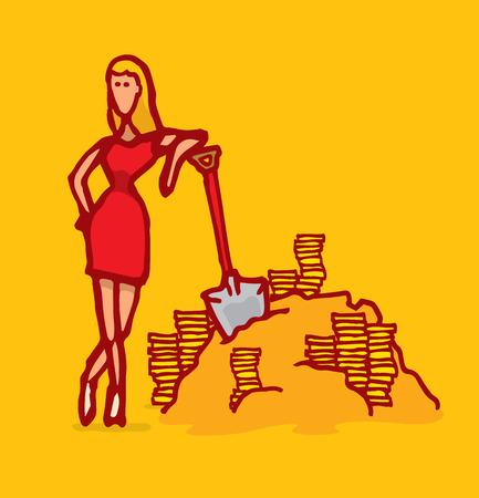 gold shovel: Cartoon illustration of a funny gold digger resting on her shovel Illustration