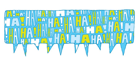 laughing out loud: Cartoon illustration of speech bubble filled with laughter
